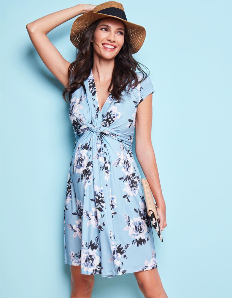 e99288bec93ba ... Seraphine DAVINA knot front desk Serafin dress short sleeve - floral  print ...
