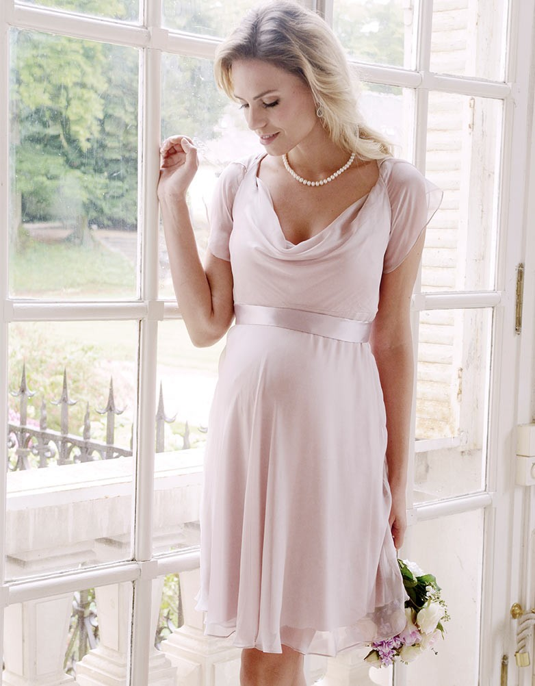 65c2b1733df solregaro  Seraphine LIZZIE silk maternity chiffon dress - brush ...