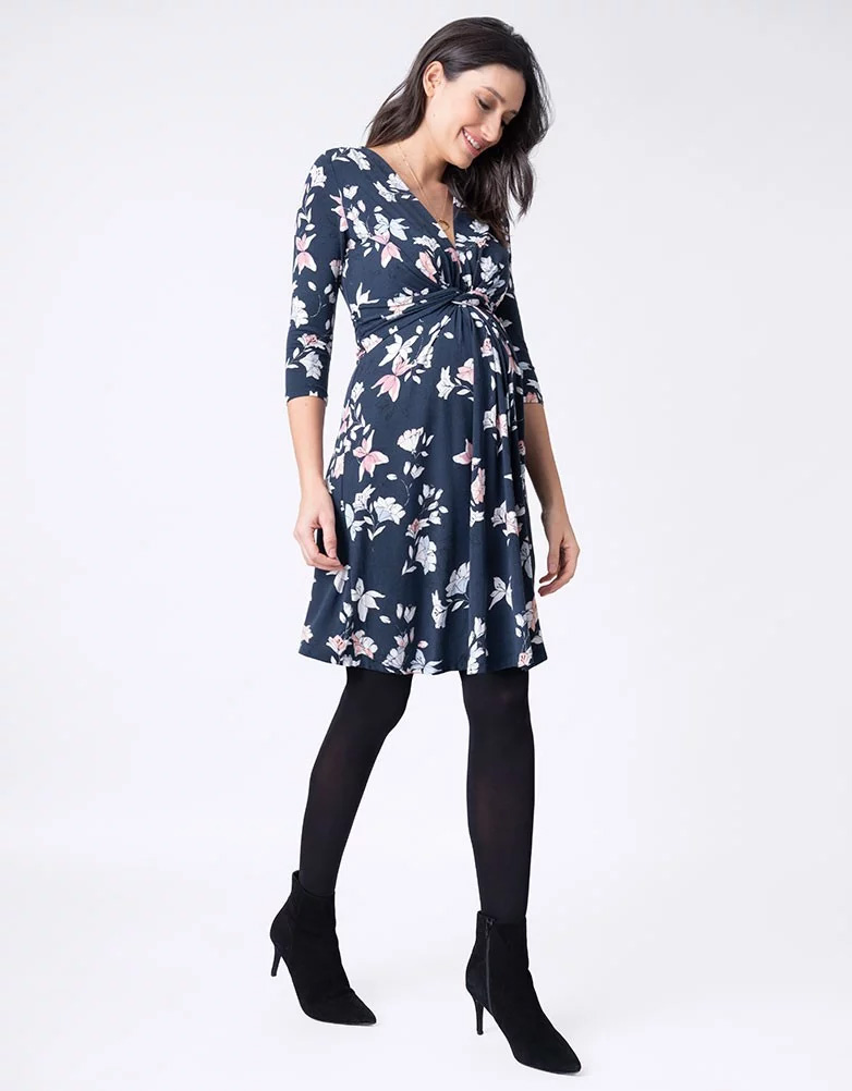 7c8546e9a7a50 ... Seraphine CARYS knot front desk Serafin dress 3/4 sleeve - floral print  ...