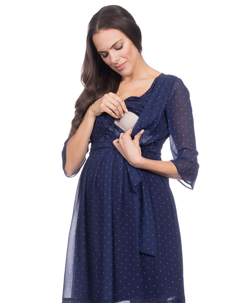 a23f39abea764 The stylish maternity, nursing dress of the chiffon material. It is a  layered design with the lining. The elegant dress of the feminine design  sleeve plays ...