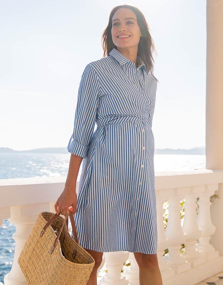 a432f4f9f99c61 Seraphine ARIADNE <nursing correspondence> maternity shirt-dress -  blues tripe ...
