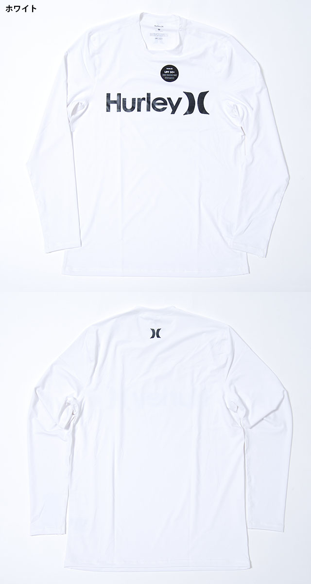New Black Hurley One and Only LS Surf Shirt White