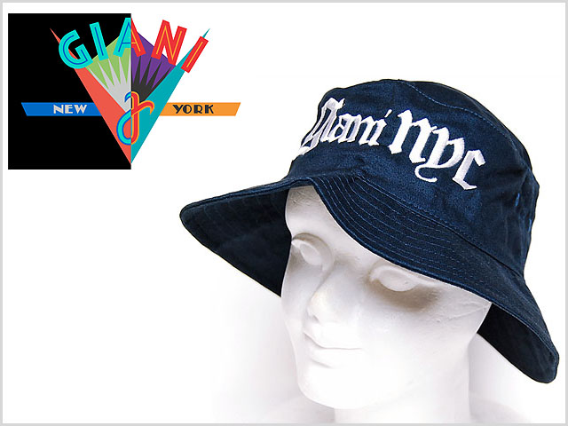 f3ca0490b36 Support GIANI NYC OLD ENGLISH BUCKET HAT WHITE NAVY Ziani enuweisey old  English brand logo bucket ...