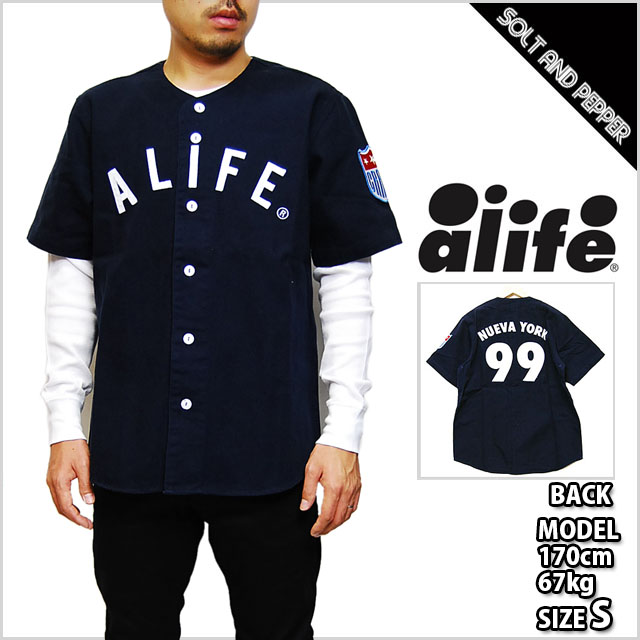 a18f2391a02f ALIFE EL BRONX JERSEY WHITE NAVY TOPS a life Bronx Baseball Jersey white  white Navy Navy ...
