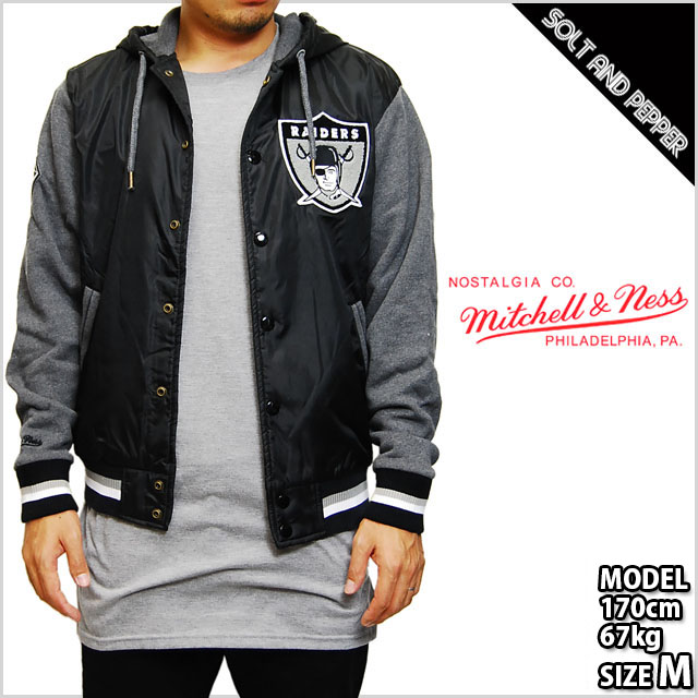 9842d0787 MITCHELL NESS NFL LEAGUE STANDINGS JACKET JKT Mitchell & Ness standing  jacket Stadium stajan outer Oakland Raiders Hoodie black black grey gray  men ...