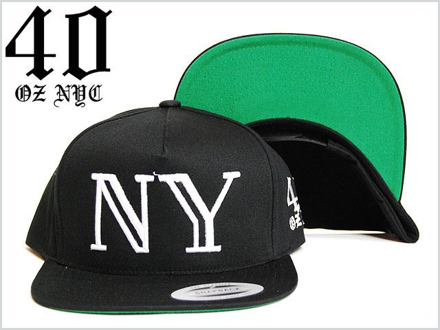 楽天市場 送料無料 40oz nyc ny logo snapback cap black white フォー