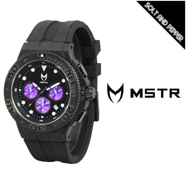 アウトレット MEISTER WATCHES マイスター ウォッチ MSTR WATCHES AMBASSADOR MK2 AMP205RB BLACK PURPPLE アンバサダー 時計 腕時計 ダイバーウォッチ クロノグラフ ラバーバンド 黒 ブラック 紫 パープル メンズ 男性