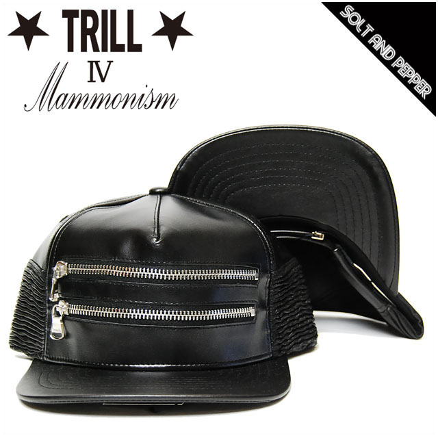 c2d29a7ff3dc10 TRILL 4 LEATHER DOUBLE ZIP BACK BELT CAP SNAPBACK BLACK trill 4 trial for  leather double