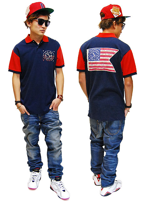 AMERICAN LIVING USA FLAG POLO SHIRTS NVY/RED American living American flag  Polo shirts Polo Shirt Navy / red men\u0027s male stars article flag Navy blue /  red ...