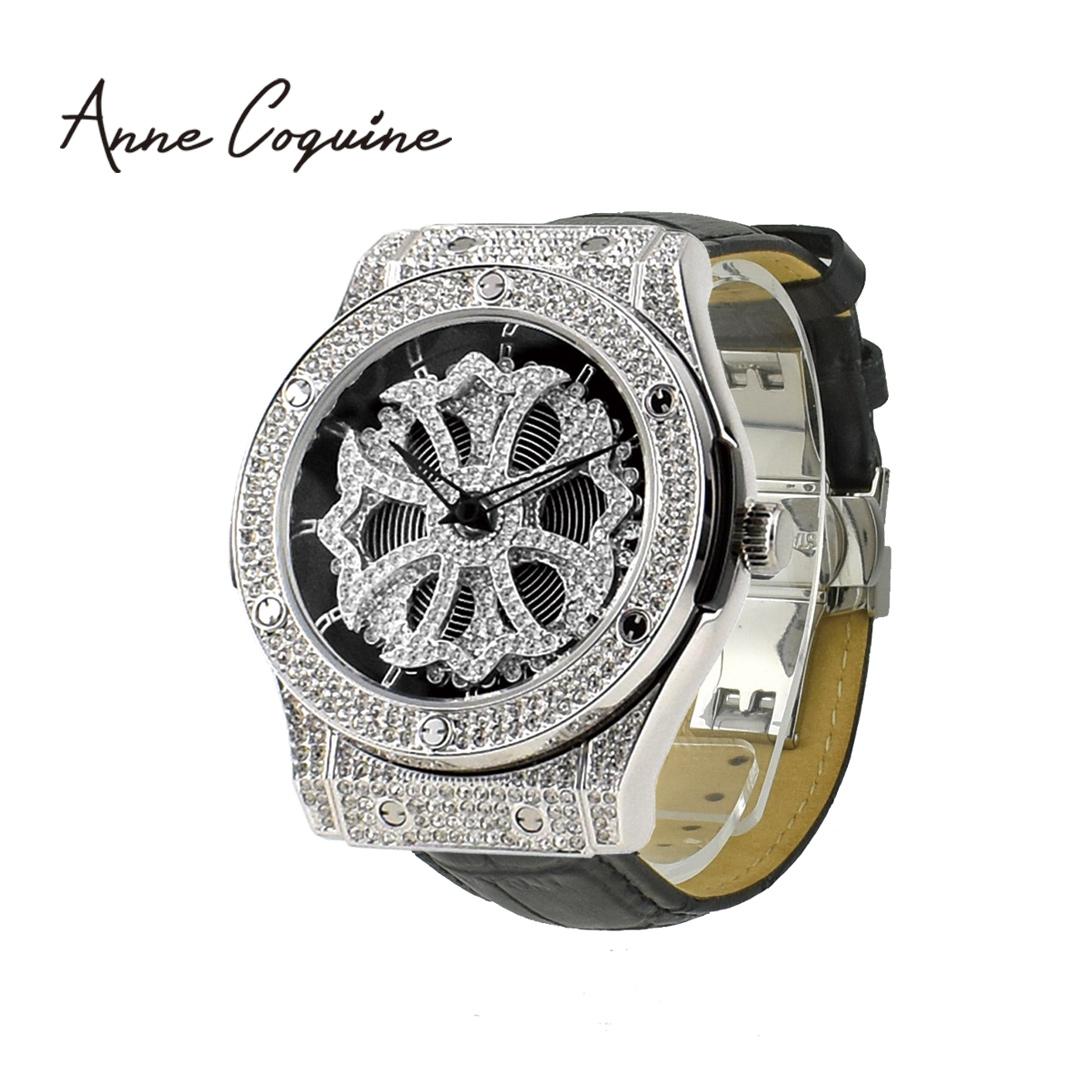 (公式) アンコキーヌ Anne Coquine 腕時計 メンズ レディース 時計 オクタゴン クロス シルバーベゼル×本革黒ベルト 1150-0214 スワロフスキー ゴージャス ユニセックス ブランド 高級 ぐるぐる くるくる グルグル プレゼント ギフト