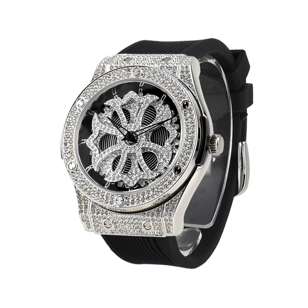 (公式)アンコキーヌ Anne Coquine 腕時計 レディース メンズ 時計 オクタゴン クロス シルバー ベゼル ブラック 黒 ラバーベルト 1150-1402 ジュエリーウォッチ スワロフスキー ゴージャス ユニセックス ブランド 高級 ぐるぐる くるくる 父の日