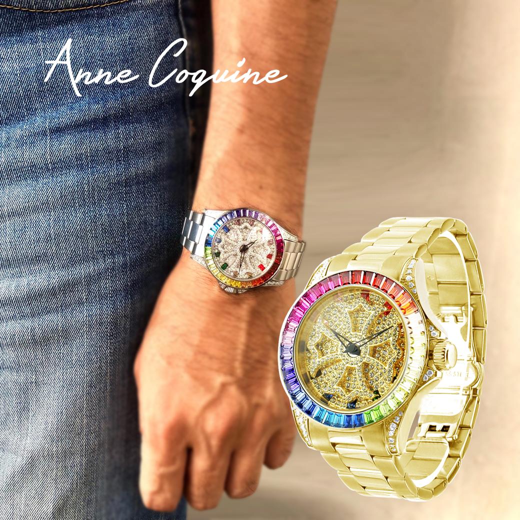 (公式)アンコキーヌ Anne Coquine 腕時計 メンズ レディース 時計 レインボースワロクロス スワロフスキー ぐるぐる グルグル くるくる グルグル ゴールド ゴージャス ブランド 高級 プレゼント ギフト 1153-1515