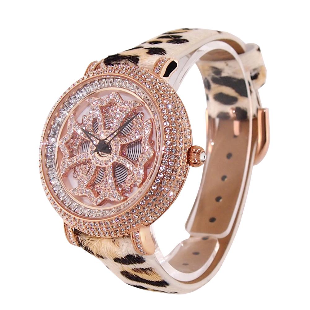 (公式) アンコキーヌ Anne Coquine 腕時計 レディース 時計 ミニクロスゴールド ホワイト ヒョウ柄ベージュ 1206-0129 革 ベルト ブランド 高級 ユニセックス ペア スワロフスキー ぐるぐる くるくる 回る ゴージャス プレゼント ギフト