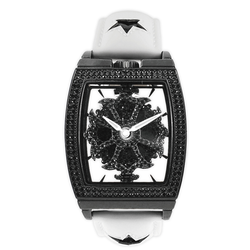 cfedf532ab6e スクエアースケルトンブラック エナメルスターベルト:ホワイト 1343-0201-男女兼用腕時計