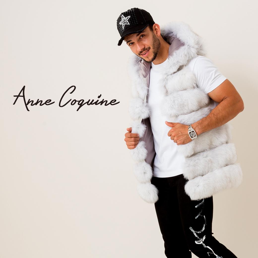 (公式)AnneCoquine アンコキーヌ メンズ フード付きファーベスト ライトグレー 7052-0030 FOX メンズ フード ラグジュアリー