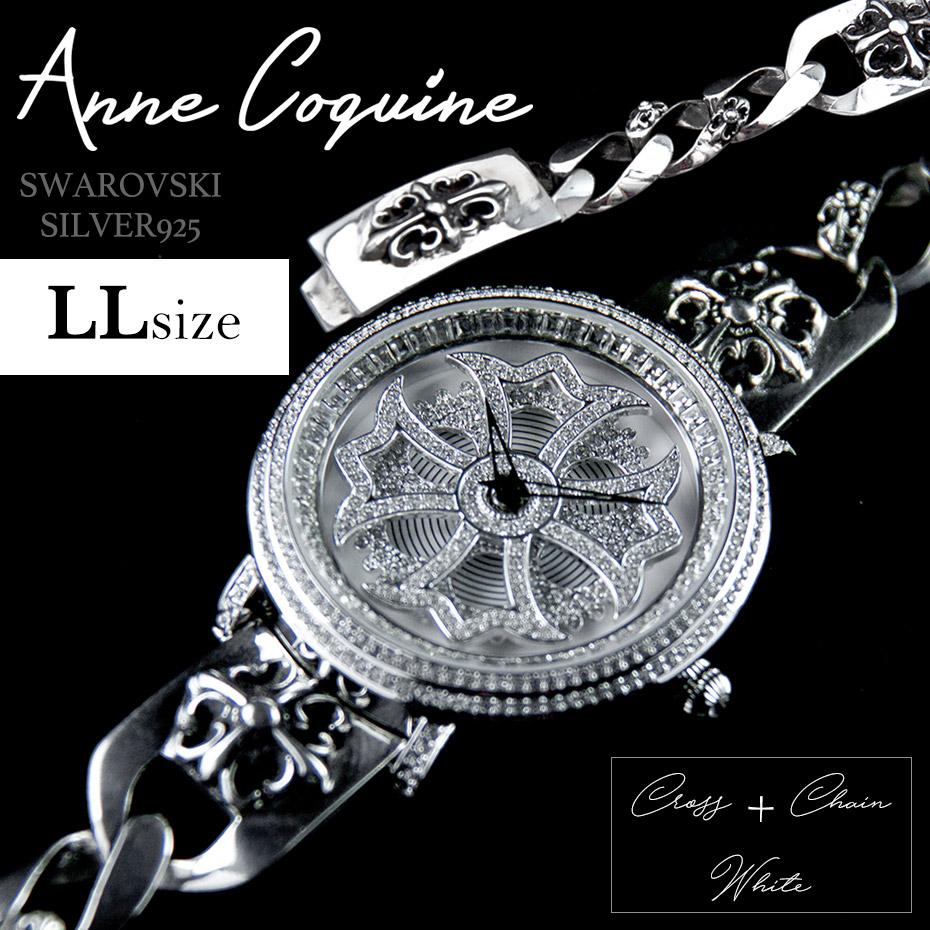 Anne Coquine アンコキーヌ クロス+チェーン ホワイトLLサイズ 1109-0114LL