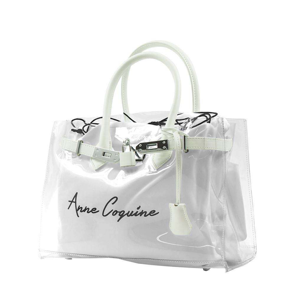 Anne Coquine アンコキーヌ レザー×クリアバッグ<30cm> ホワイト 2301-0001