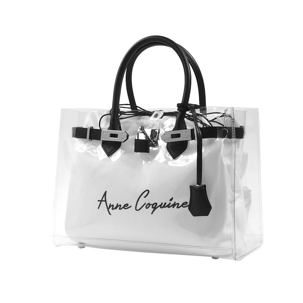Anne Coquine アンコキーヌ レザー×クリアバッグ<30cm> ブラック 2301-0002