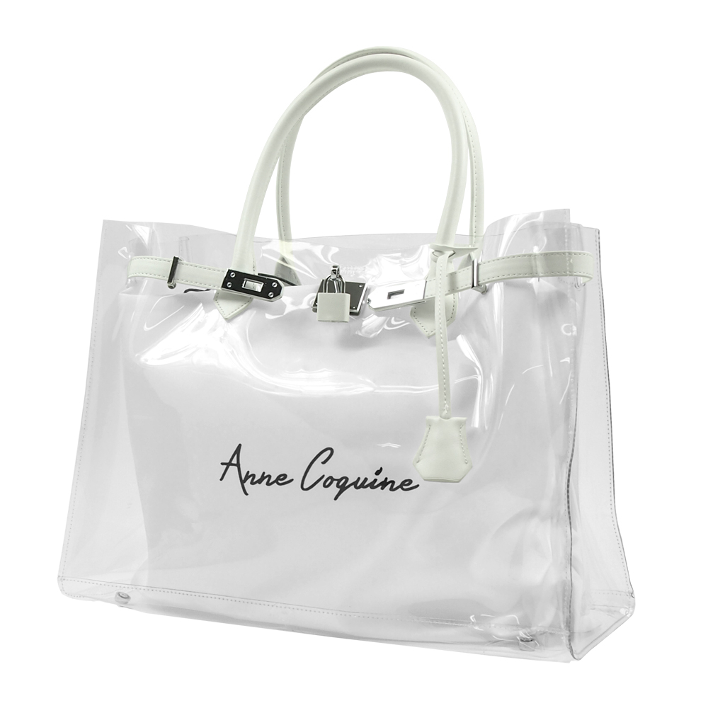 Anne Coquine アンコキーヌ レザー×クリアバッグ<40cm> ホワイト 2302-0001