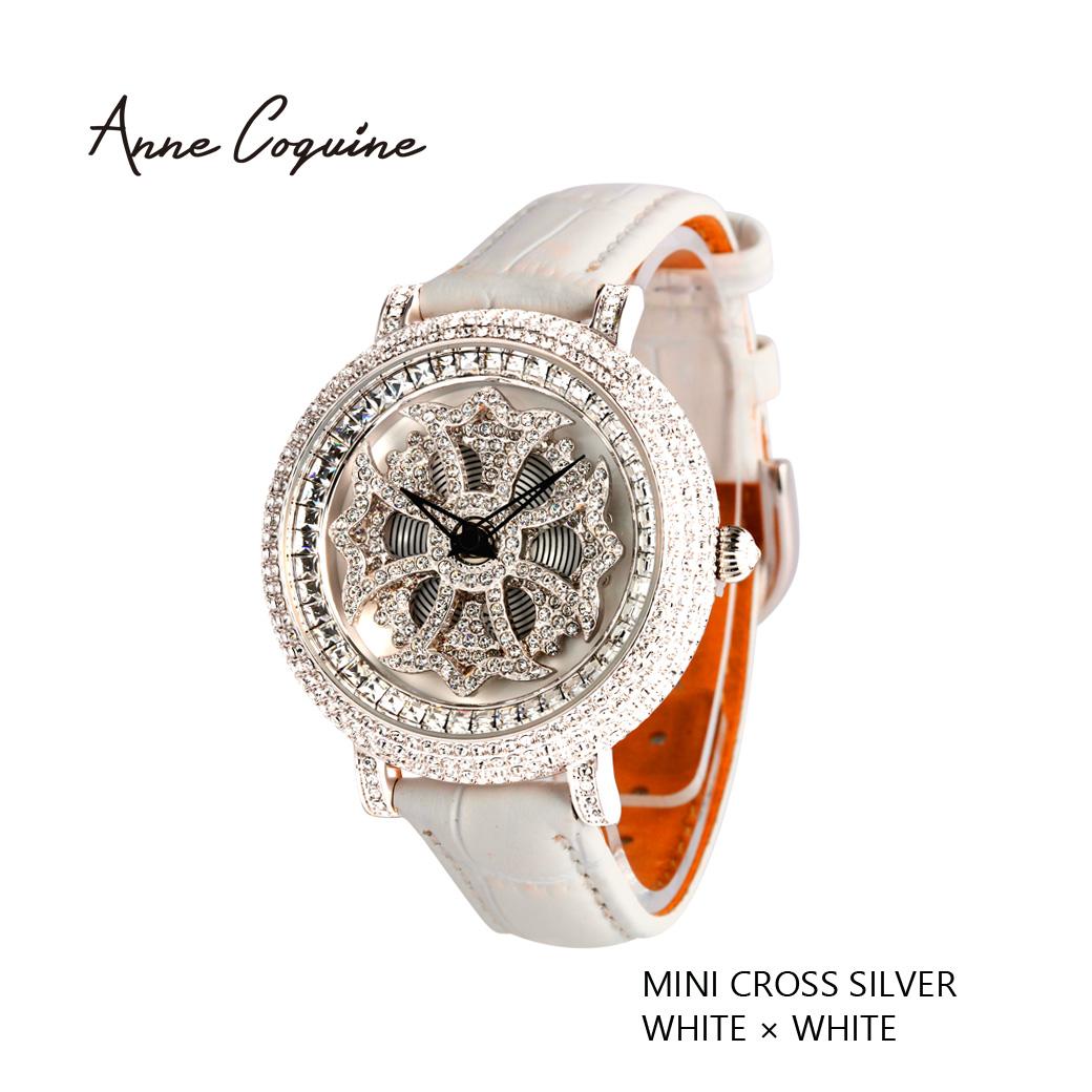 (公式) アンコキーヌ Anne Coquine 腕時計 レディース 時計 ミニクロスシルバーベゼル ホワイト×ホワイト 1106-0101 新作 革ベルト 売れ筋 ブランド 高級 スワロフスキー ぐるぐる くるくる 回る ゴージャス プレゼント ギフト 父の日