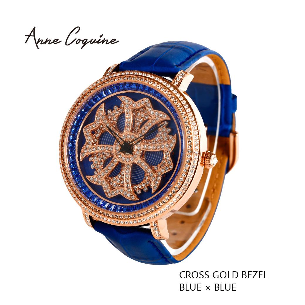 (公式)アンコキーヌ Anne Coquine 腕時計 メンズ 時計 クロスゴールドベゼル ブルー 1201-0303 ジュエルウォッチ 革 ベルト ブランド 高級 ユニセックス ペア スワロフスキー ぐるぐる くるくる クルクル 回る ゴージャス プレゼント ギフト 父の日