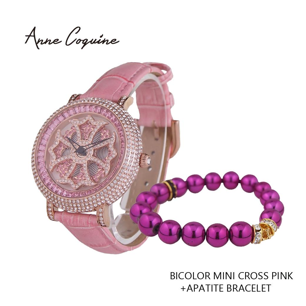 (公式)アンコキーヌ Anne Coquine 腕時計 レディース 時計 とwoo's worldのコラボ第3弾 ミニクロス +パワーストーンブレスレット 1211-0505 ウォッチ ブランド 高級 スワロフスキー ぐるぐる くるくる 回る ゴージャス プレゼント ギフト