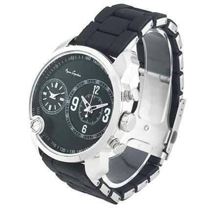 アンコキーヌ <2-フェイスウォッチ ブラックベルト×シルバーベゼル 1129-0202> ぐるぐる グルグル スワロフスキー ぐるぐる時計 ギフト プレゼント 新生活 ダブルフェイス時計 2つ時計 海外旅行