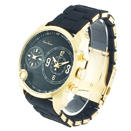 アンコキーヌ <2-フェイスウォッチ ブラックベルト×ゴールドベゼル 1229-0202> ぐるぐる グルグル スワロフスキー ぐるぐる時計 ギフト プレゼント 新生活 ダブルフェイス時計 2つ時計 海外旅行