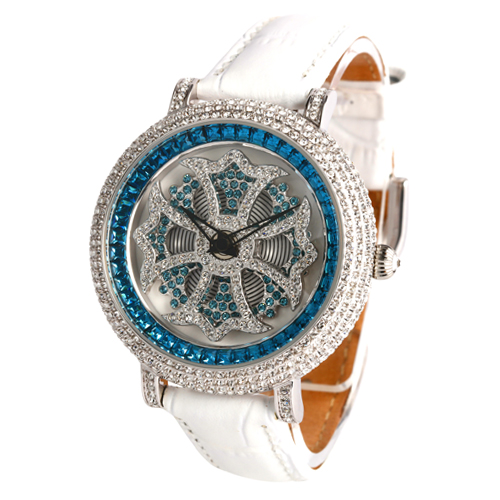アンコキーヌ/ぐるぐる時計/バイカラー ミニクロスシルバーベゼル クリア×ブルー (本体:ブルー×シロ ベルト:シロ) 1111-1301