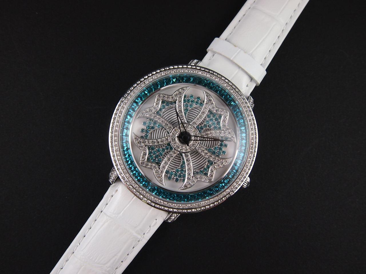 アンコキーヌ/ぐるぐる時計/バイカラー クロスシルバーベゼル クリア×ブルー (本体ブルー×シロ ベルト:シロ) 1110-1301