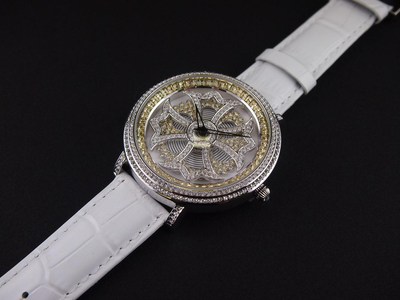 (公式)アンコキーヌ Anne Coquine 腕時計 メンズ 時計 バイカラー クロスシルバーベゼル クリア×イエロー (本体イエロー×シロ ベルト:シロ) 1110-0601 ウォッチ ブランド 高級 スワロフスキー ぐるぐる くるくる 回る プレゼント ギフト 父の日
