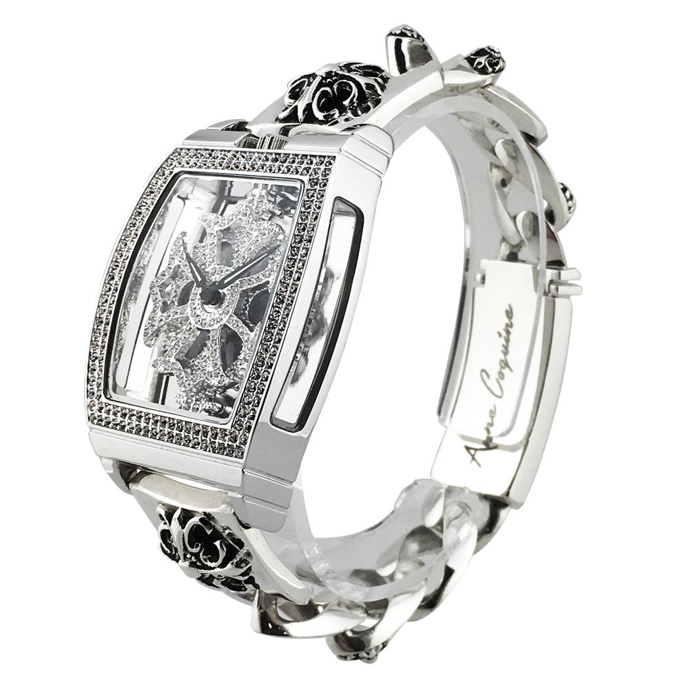 アンコキーヌ Anne Coquine 腕時計 時計 スクエア スケルトン 925 SILVER チェーン S M Lサイズ 1121-0114 シルバー925 スクエア スワロフスキー ユニセックス ゴージャス ブランド 高級 ペア ぐるぐる くるくる 回る プレゼント ギフト