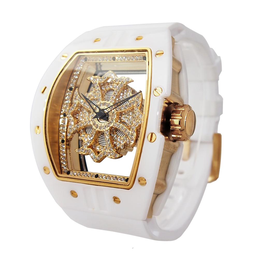 ビッグレクタングル セラミックホワイト<ゴールド仕様>1437-1501 アンコキーヌ AnneCoquine 腕時計 ぐるぐる時計 芸能人愛用 スポーツ選手愛用 セラミック スワロフスキー