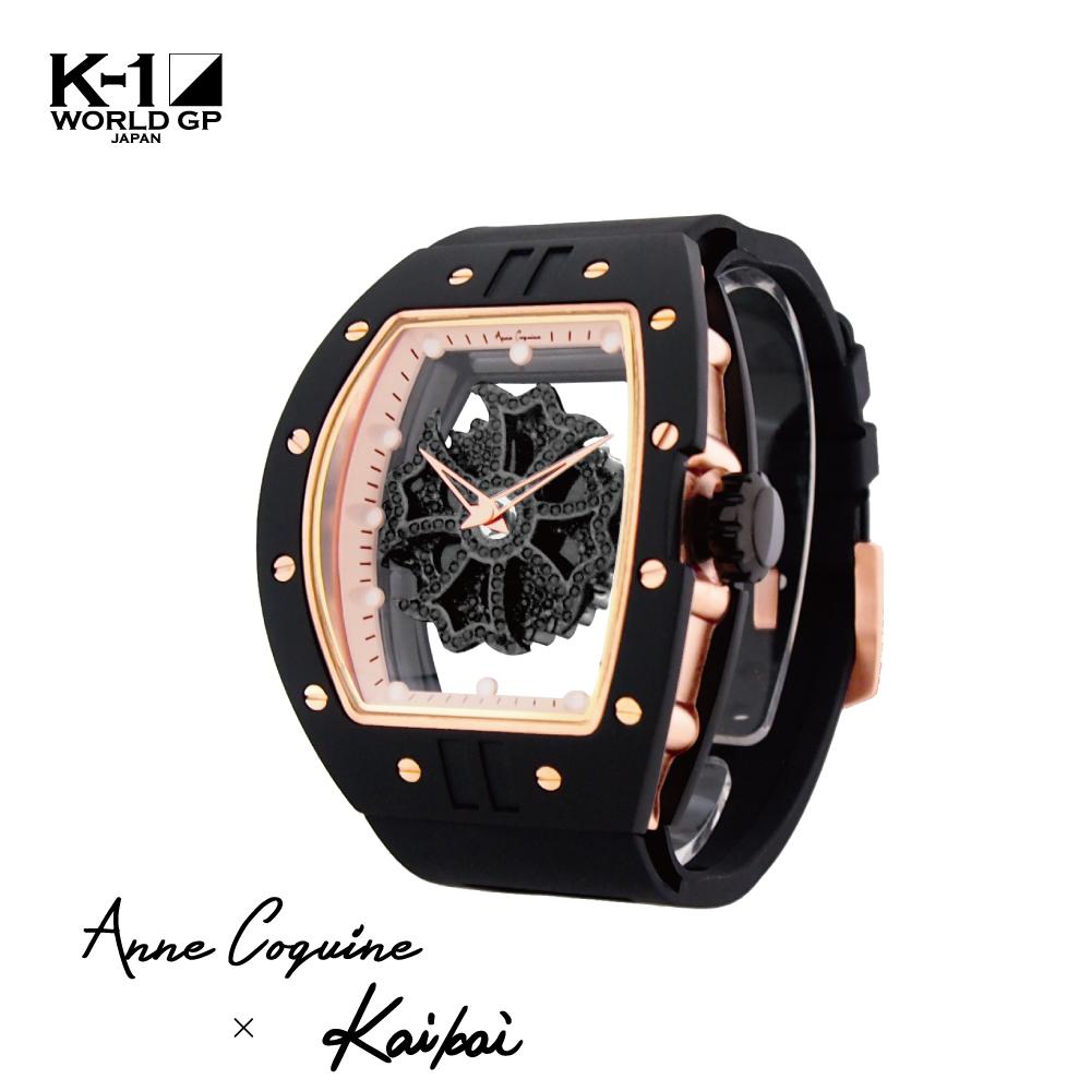 Anne Coquine K-1公式 小澤海斗コラボ レクタングル 1014-0202 アンコキーヌ K-1 チャンピオン ぐるぐる時計 ぐるぐる 大きめ 腕時計 スワロフスキー時計