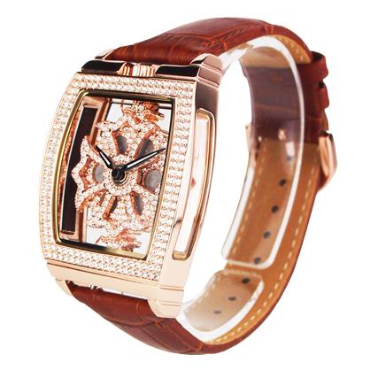 (公式)アンコキーヌ Anne Coquine 腕時計 時計 スクエアースケルトンクロス【ゴールド】 ベルト【ブラウン】 1221-0119 ウォッチ ブランド 高級 スワロフスキー ぐるぐる くるくる グルグル クルクル 回る ゴージャス プレゼント ギフト 父の日