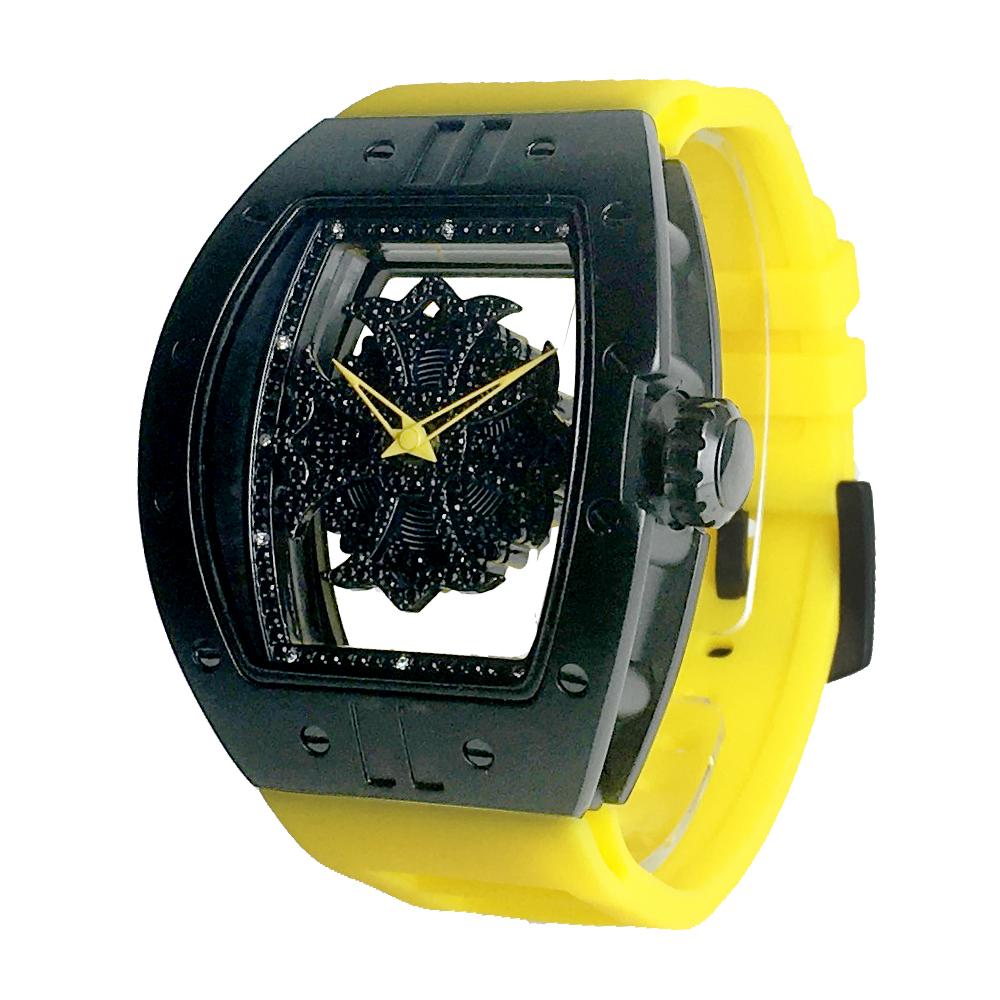 ビッグ レクタングル スケルトン クロス<ブラックベゼル/ブラックスワロ/イエローベルト> 1325-0206 アンコキーヌ Annecoquine ぐるぐる時計 スワロフスキー