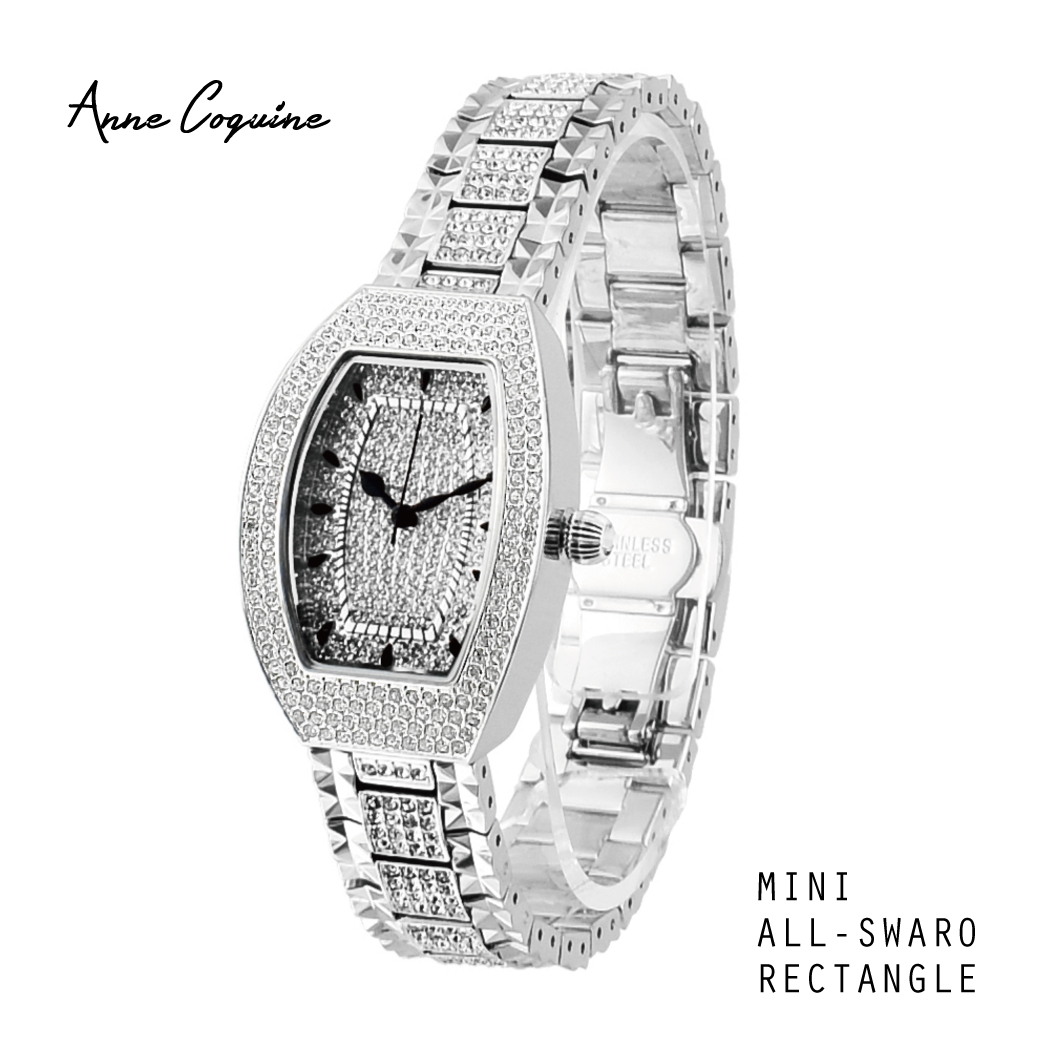 Anne Coquine(アンコキーヌ)ALLスワロレクタングル シルバー 1149-1414 スワロフスキー レディース時計 ラグジュアリー 腕時計 プレゼント 記念日
