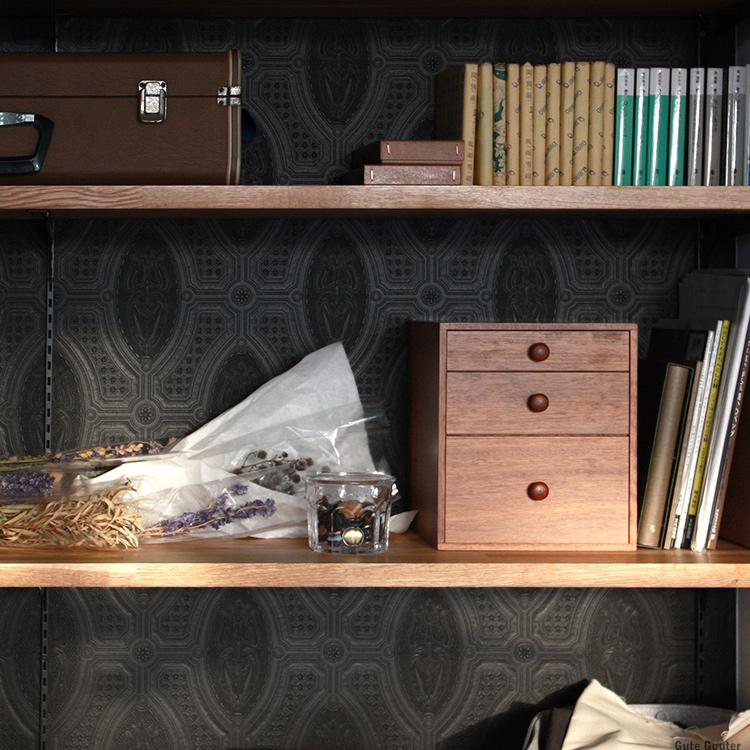 倉敷意匠 引き出しボックス 3段 収納 箱 小物入れ 木製 タンス型 レトロ おしゃれ 倉敷意匠計画室 KS-NH006-17093-02