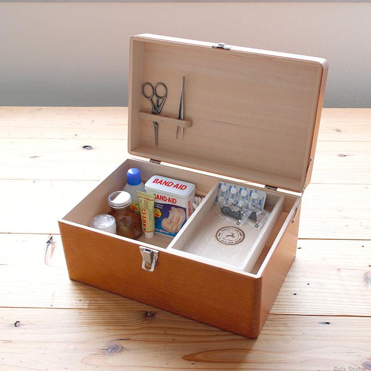 倉敷意匠 救急箱L ツガ材 薬箱 収納ボックス 小物入れ 木箱 取っ手付き 大 倉敷意匠計画室 KS-NH043-17098-06