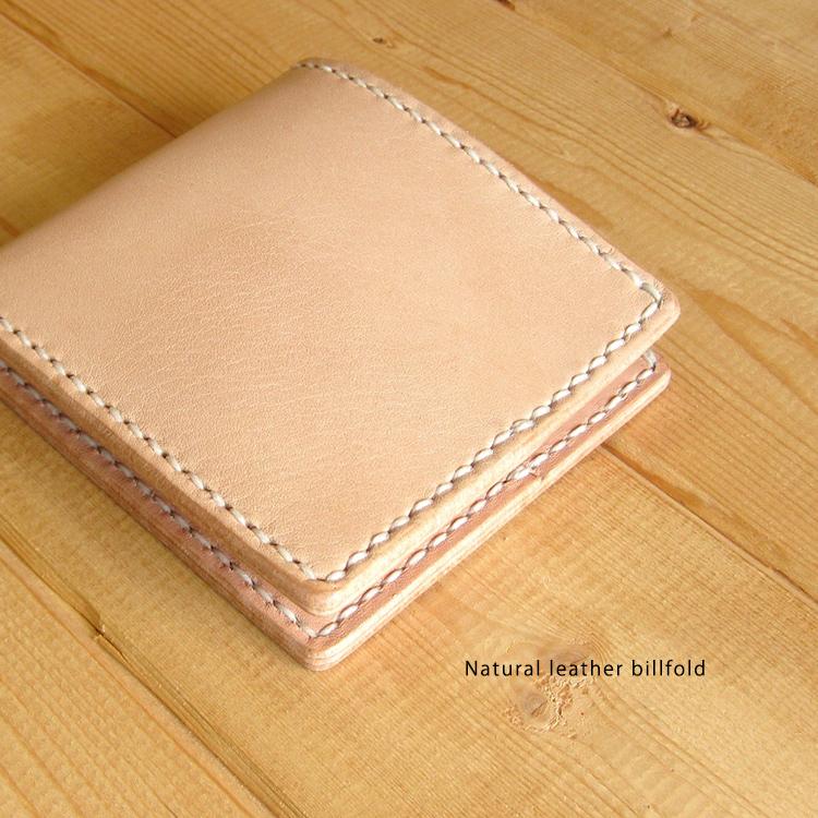 ハンドメイド ナチュラルレザー カード&お札入れ 2つ折り ウォレット 財布 革製 DAN-BI11