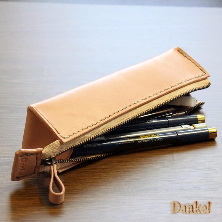 ハンドメイド 牛革使用 ペンケース 筆入れ 小物入れ レザー小物 革製 DAN-C22