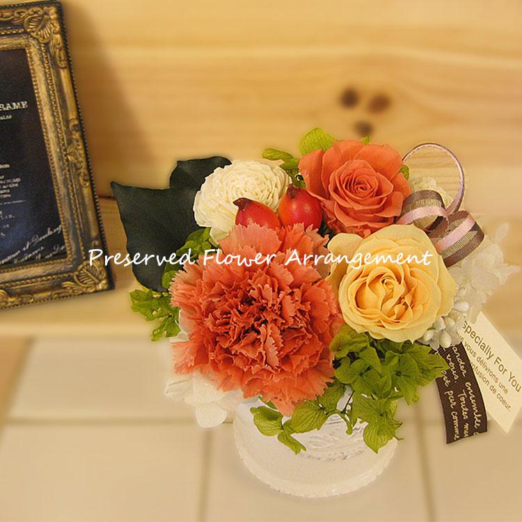 枯れないお花 プリザーブドフラワーアレンジメント ミルフィーユ 大輪カーネーション&薔薇 バラ DAN-P096