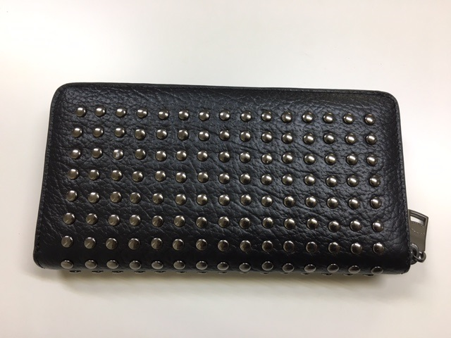 COACH / trainer studded leather accordion zip around long wallet black F75445BLK