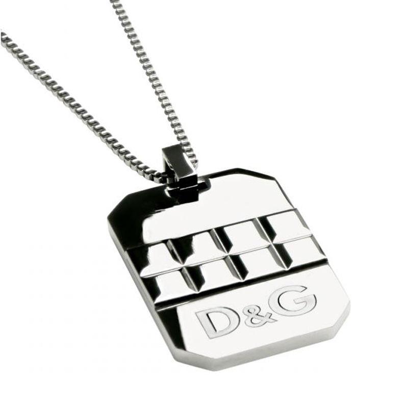 D&G/ドルチェ&ガッバーナ D&Gロゴ エッジカットプレートネックレス DJ0761 【Luxury Brand Selection】【メンズ ギフト】【ラッピング無料】【05P03Dec16】