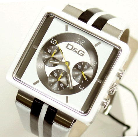 D&G TIME Dolce & Gabbana CREAM chronograph watch DW0066 white X black