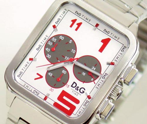 D & G TIME die and say GERONIMO chronograph SS belt clock silver DW0185