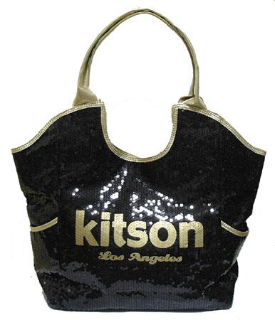 KITSON スパンコールトートバッグ Los Angeles Sequin Tote Black/Gold 【ラッピング無料】【10P11Mar16】【05P03Dec16】