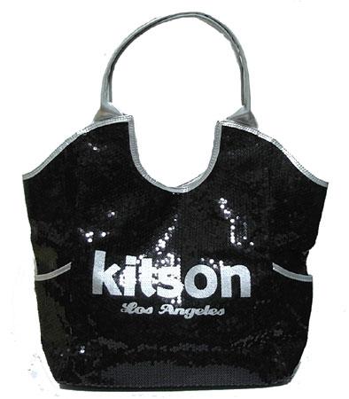 Kitson Sequin Tote Bag Los Angeles Black Silver