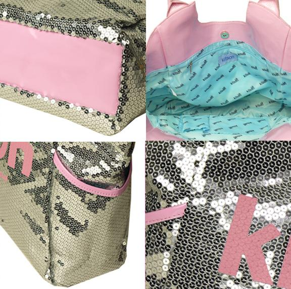 KITSON spangles tote bag Los Angeles Sequin Tote Silver/Pink