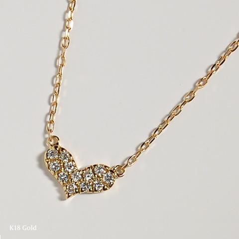 """K18 黃金鋪平道路鑽石心項鍊""""心/鋪平了道路的心項鍊項鍊女士女士 18 k 18 金黃金鑽石 スキンジュ 飾品店禮品贈品"""
